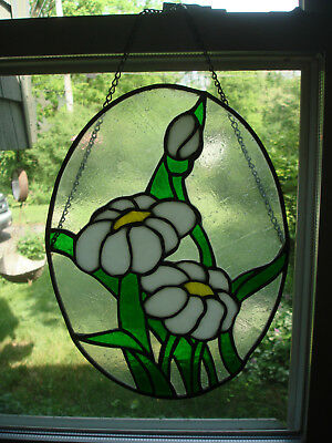 """Flowers Stained Leaded Glass Panel 14 1/4"""" x 10"""" Handmade"""