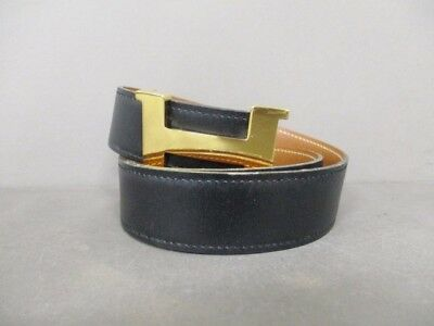 Auth HERMES H Belt Black Gold Leather & Hardware Square B Belt