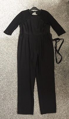 gorgeous  black jumpsuit with lace detail  from George size 16, in lovely cond