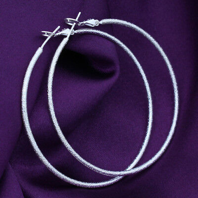 Women 925 Sterling Silver Frosted Classic Large 50mm Round Vogue Hoop Earrings