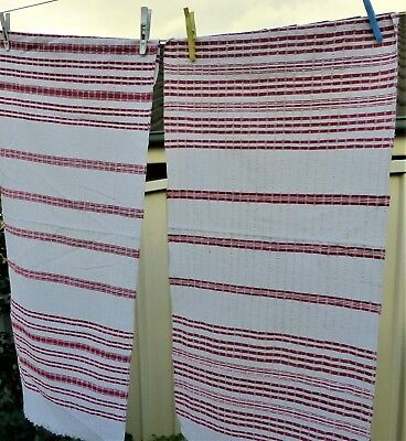 2 x antique handwoven runners table cloths fabric seersucker from Europe