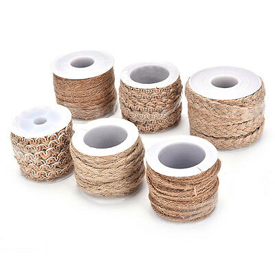 5M Natural Hessian Jute Twine Rope Burlap Ribbon Craft Vintage Wedding Party ES