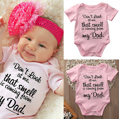 US Newborn Kids Baby Girl Clothes Funny Romper Bodysuit Jumpsuit Outfits Sunsuit