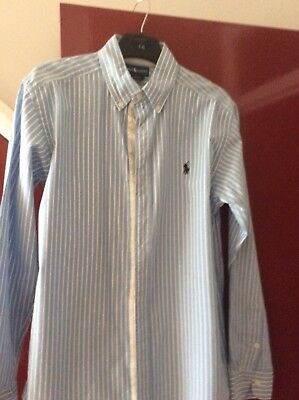 Ralph Lauren boys shirt age 14-16 years blue and white stripes excellent c