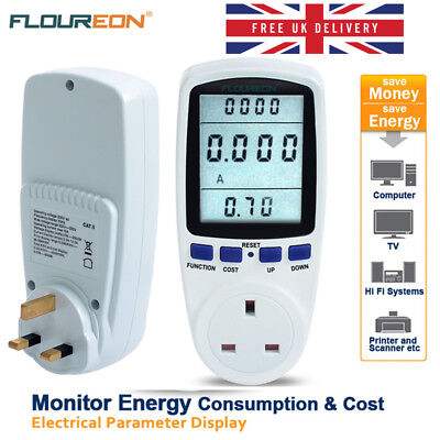 LCD Power Consumption Meter Energy Monitor KWH Calculator Plug In Electricity A