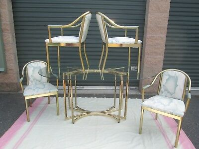 Mid Century Mod Brass Tone Dia ??  Dining Set Great Design Base & Chairs Pls Rd