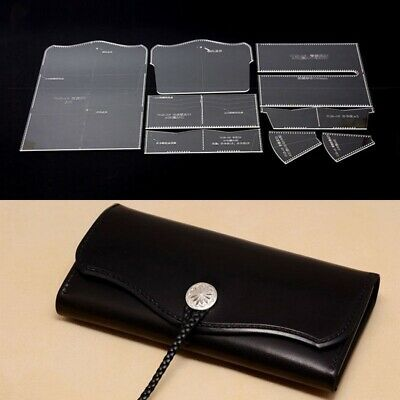 Acrylic long wallet with zipper leather craft Pattern Stencil Template CQB-06