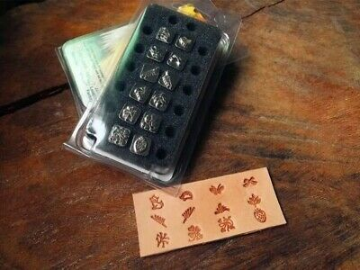 leather craft 12pcs flowers and birds pattern Stamp Tool with handle set