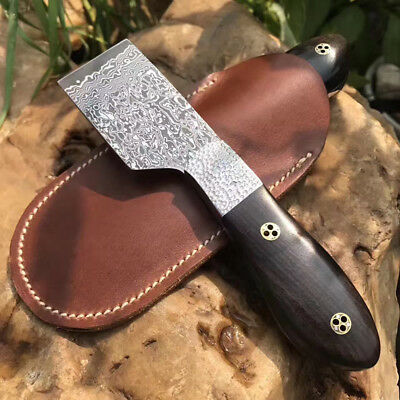 Damascus Blade Knife cutting Leathercraft Skiver cutter tool ebony handle DIY