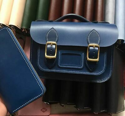Hand made color Vegetable tanned leather Cambridge satchel company messenger bag