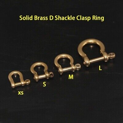 2 X Brass D Shackle Clasp Ring for Keyring Key Pouch Belt Loop Fastener Clip DIY
