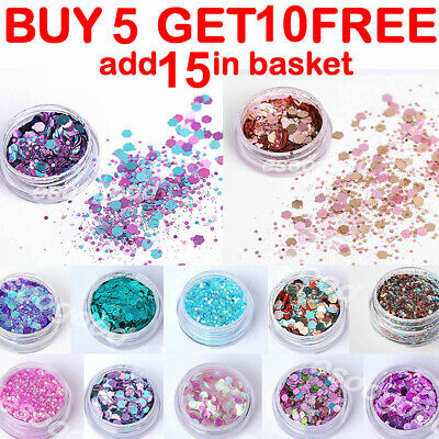 Chunky Mixed Glitter Face Eye Body Tattoo Festival Club Unicorn Mermaid Cosmetic