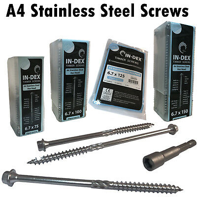 TIMCO IN-DEX STAINLESS STEEL A4 Landscape Sleeper Wood Timber Hex Head Screws