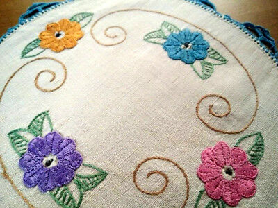 Gorgeous Floral Vintage Hand Embroidered Doily & Blue Hand Crochet