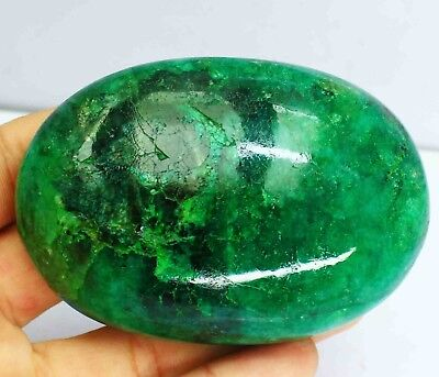 Superb 1410 Ct Oval Cut Certified Cabochon Natural Green Emerald Gemstone AO2459