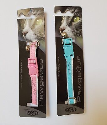 Armitage Good Girl Cat & Kitten Safety Collar Pink or Blue with Soft Felt Lining