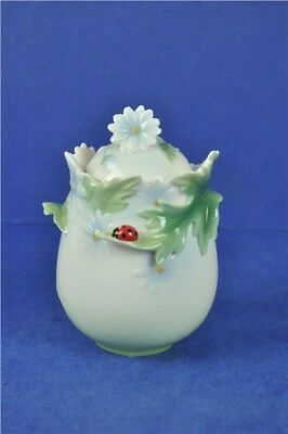 Franz Small Ladybird And Flowers Porcelain Sugar Bowl | Excellent Condition