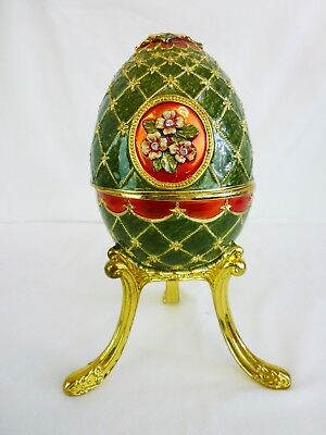 Collector Styled Decorated Enamel Easter Egg Music Box                     #ci#