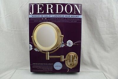 Jerdon HL65N 8-Inch Lighted Wall Mount Makeup Mirror with 5x Mag AE5
