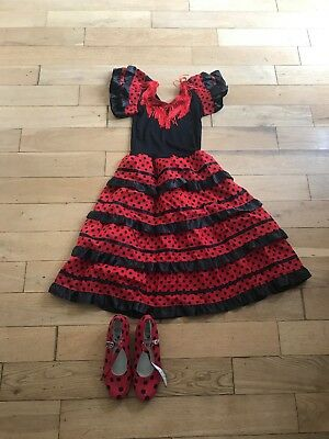 Girls flamenco dress up costume and matching shoes