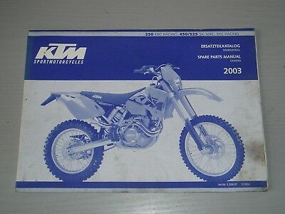 Ktm Exc 250 Racing / 450 / 525 Sx, Mxc, Exc, Racing Chassis Parts Manual 2003