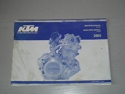 Ktm Exc 250 Racing / 450 / 525 Sx, Mxc, Exc, Racing Engine Parts Manual 2003