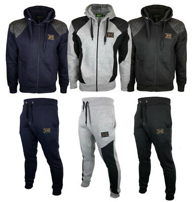 DOWNTOWN Mens SLIM FIT Full Tracksuit Fleece Hooded Jogging Bottoms Joggers