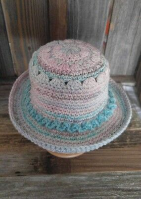 Crochet Baby Girl 0-6 month Sun Hat Handmade by Me in the USA