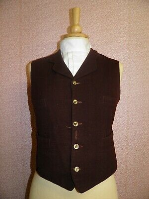 """Vintage Boys Brown Wool Waistcoat With Hand Painted Horse Head Buttons 32"""" Chest"""