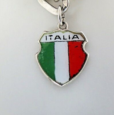Vintage ITALY ITALIA FLAG Sterling Enamel Travel Shield Charm