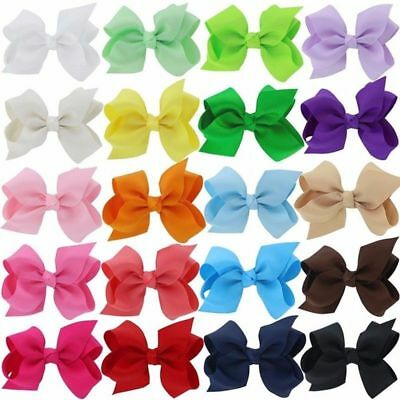 "40 Pcs Baby Girls Kids 3.1"" Grosgrain Ribbon Boutique Hair Bows Alligator Clips"