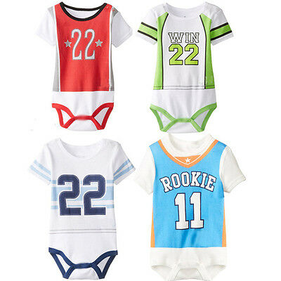 Baby Boys Girls Sports Cotton Short Sleeve Romper Baby Bodysuit Outfit Clothes