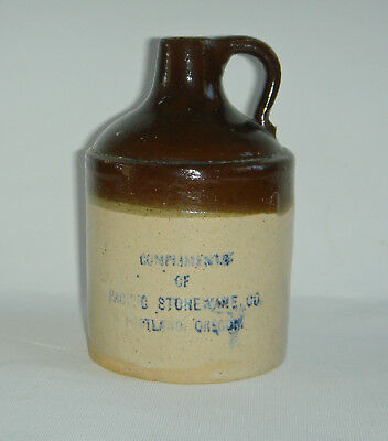 Antique Stoneware Miniature Jug COMPLIMENTS OF PACIFIC STONEWARE PORTLAND OREGON
