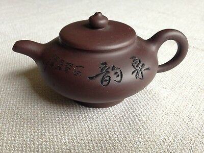 Yixing Clay Mini Teapot Incised Characters. Triple Marked. China Chinese