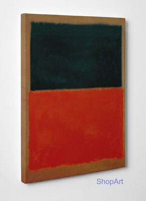 Quadro Mark Rothko Green and Tangerine on Red Stampa su Tela Vernice Pennellate