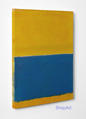 Quadro Astratto Mark Rothko Yellow and Blue Stampa su Tela Vernice Pennellate