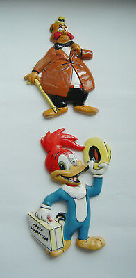1958 Walter Lantz Woody Woodpecker & Wally Walrus Ceramic Wall Plaques NAPCO
