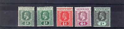 Virgin Is 1913 - 19 5 Values  To 1/- Mm  As Scan