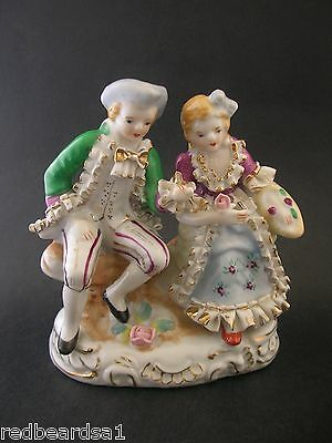 Vintage Seated Courting Couple Porcelain Figurine Applied Roses Spaghetti Lace
