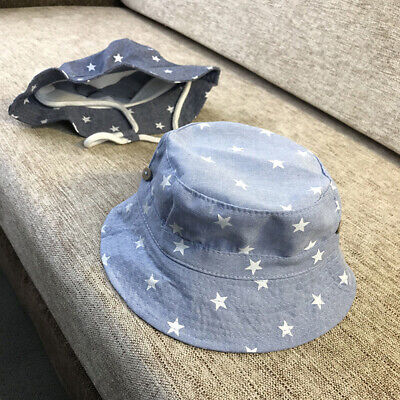 FX- Baby Boys Girls Star Print Soft Cotton Summer Sun Hat Infant Bucket Cap Nove