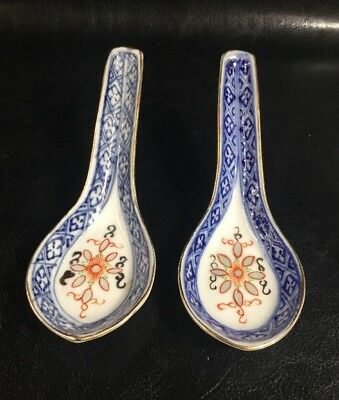 Pair Of Japanese Blue & White Porcelain Floral Gold Trim Soup Spoons