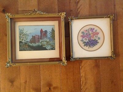 Vintage Matching Frames - Framed needlework pettipoint pictures (one shadow box)