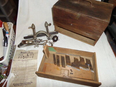 VTG STANLEY # 46 CUTTER PLOW COMBINATION PLANE EXOTIC WOOD FENCE,cutters and box