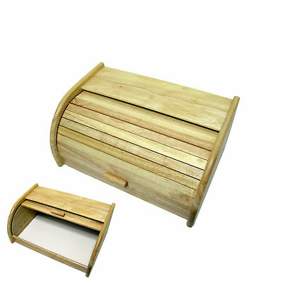 Natural Wooden Roll Top Bread Box Kitchen Food Storage Bread Storage Case