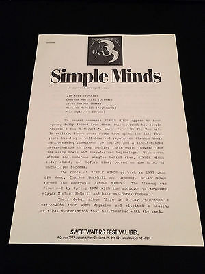 Simple Minds Sweetwaters Festival New Zealand 1984 Original Press Release