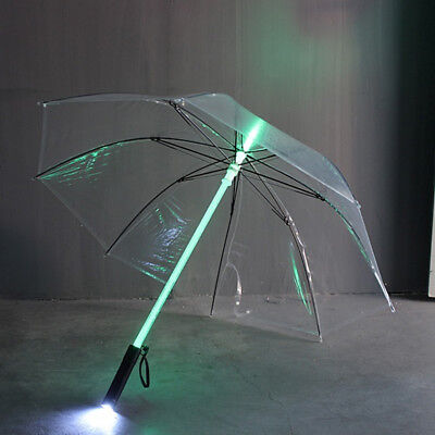 LED Umbrella Fashion Color Changing LED Flash Light Night Protector Clear