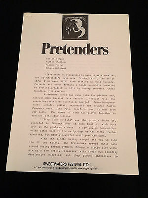 The Pretenders Sweetwaters Festival New Zealand 1984 Original Press Release