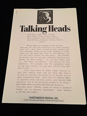 The Talking Heads Sweetwaters Festival New Zealand 1984 Original Press Release