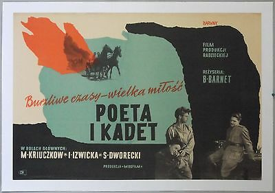 Poet, 1957, original, vintage Polish movie poster, linen-backed