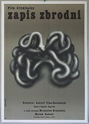 Record of Crime, 1974, Tomasz Ruminski art, Polish movie poster, linen backed
